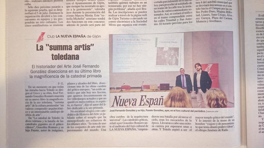 Mención en la Nueva España de la conferencia