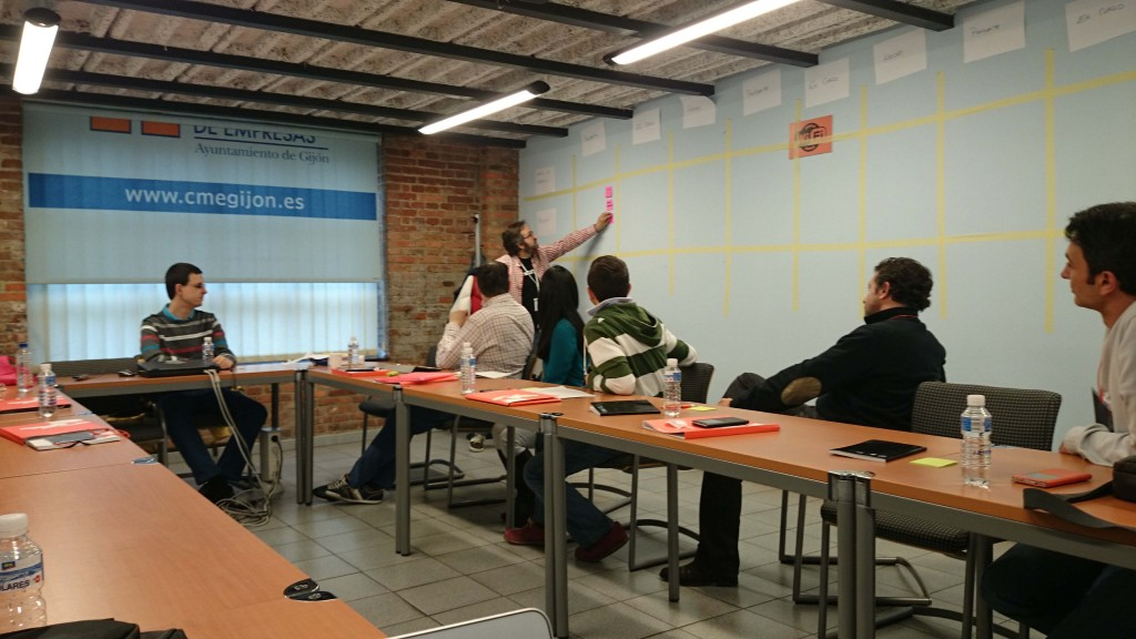 Fernando Milla enseñando la metodología Kanban al equipo de Aitor