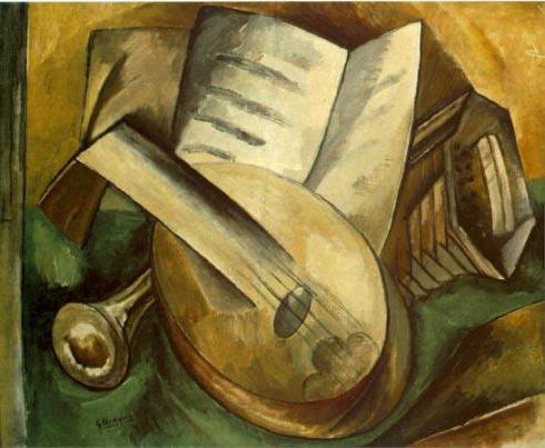 Una de las primeras obras cubistas de Braque (Instrumentos musicales, 1908)